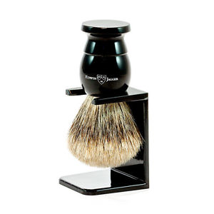 Shaving Brush, Ebony, Medium, Best Badger with Drip Stand