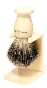 Shaving Brush, Ivory, Extra Large, Best Badger with Drip Stand