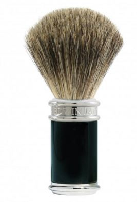 Shaving brush, pure badger, imitation ebony, chrome plated
