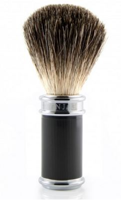 Shaving brush, pure badger, ebony rubber coated handle