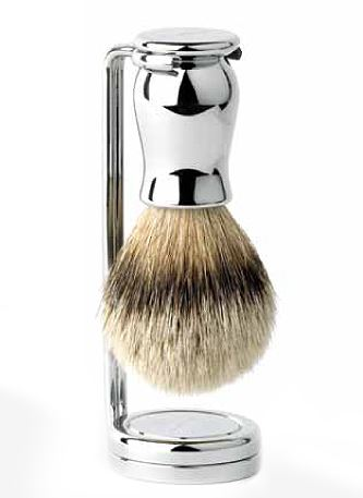 Double wire stand for Shaving Brush, metal, nickel plated