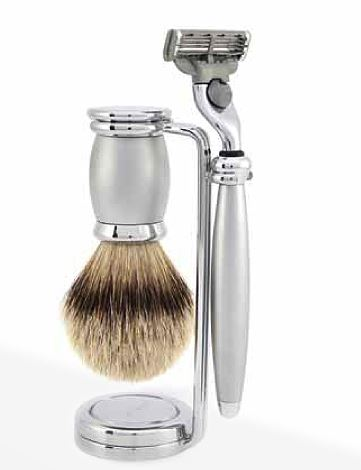Double wire stand for Brush and Razor, metal, nickel plated
