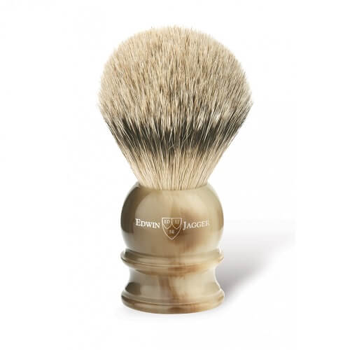 English shaving brush, imitation light horn, medium, silver tip