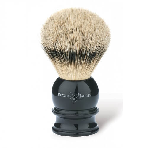 English shaving brush, imitation ebony, medium, silver tip