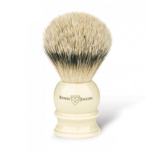 English shaving brush, imitation ivory, medium, silver tip