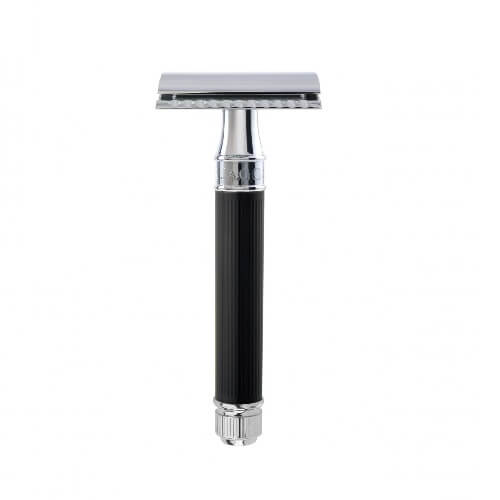 Edwin Jagger Double edge razor, ebony, rubber coated handle
