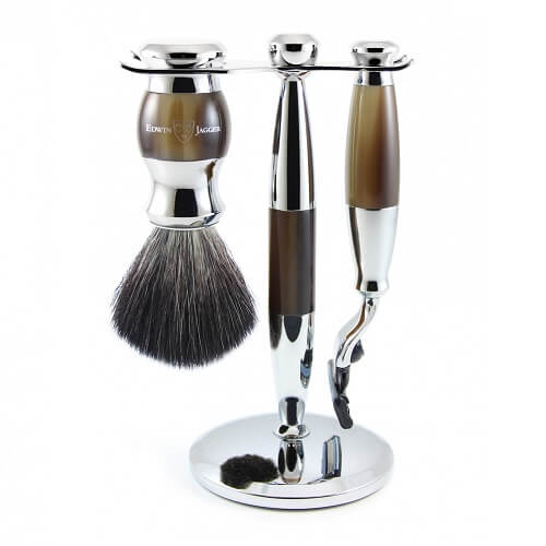 3pc set, Imitation Light Horn, chrome plated, pure badger brush