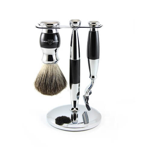3pc set, Imitation Ebony, chrome plated, pure badger brush, m3