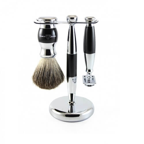 3pc set, Imitation Ebony, chrome plated, pure badger brush, DE