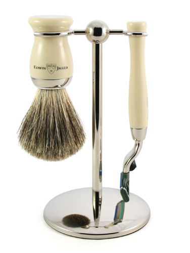 3pc set, Imitation Ivory, nickel plated, pure badger brush - B