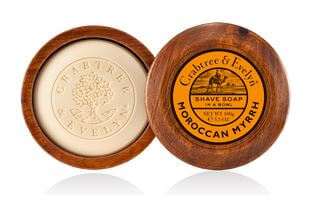 Moroccan Myrrh Shave Soap in Wooden Bowl 100gr