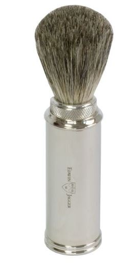 Travel shaving brush, pure badger, nickel plated