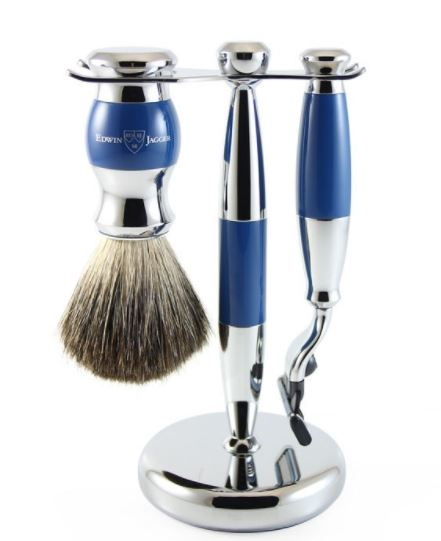 3pc set, blue, chrome plated, pure badger brush - S81M353CR