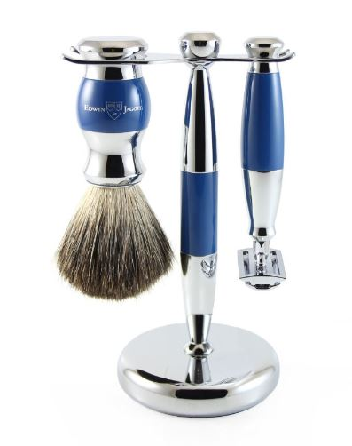 3pc set, blue, chrome plated, pure badger brush - S81M353CRSR