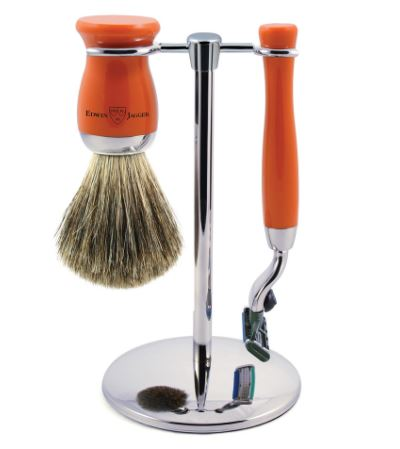 3pc set, Mach 3, chrome plated, pure badger brush, Orange