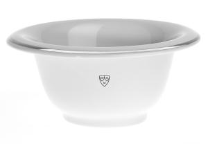 White porcelain shaving bowl with silver rim