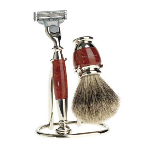 3pc set, Briar Wood, best badger shaving brush with stand