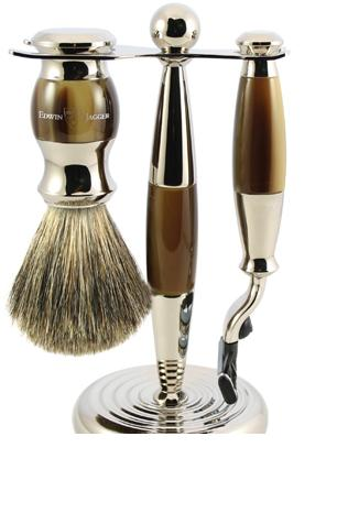 3pc set, Imitation Light Horn, nickel plated, pure badger brush