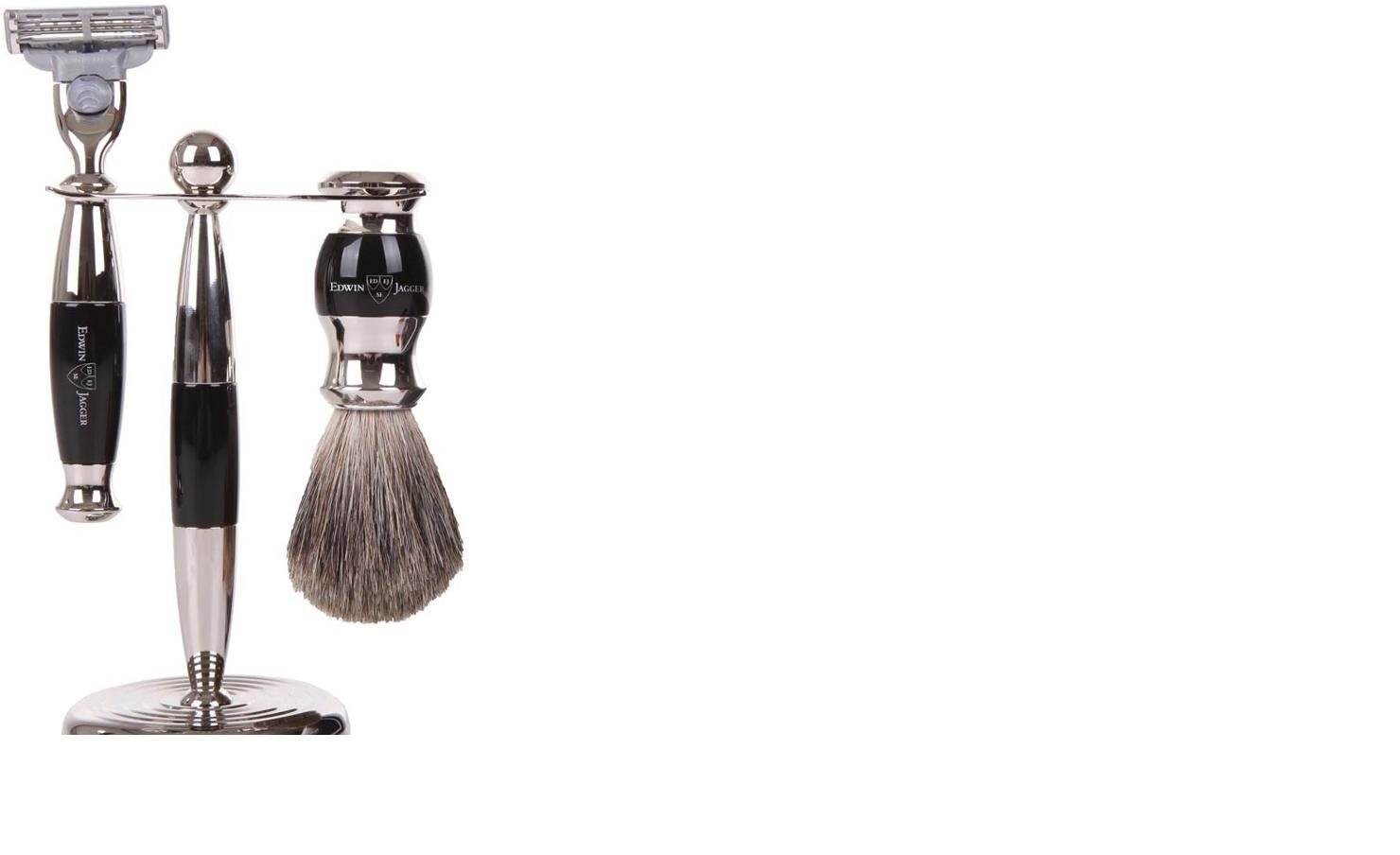 3pc set, Imitation Ebony, nickel plated, pure badger brush - A