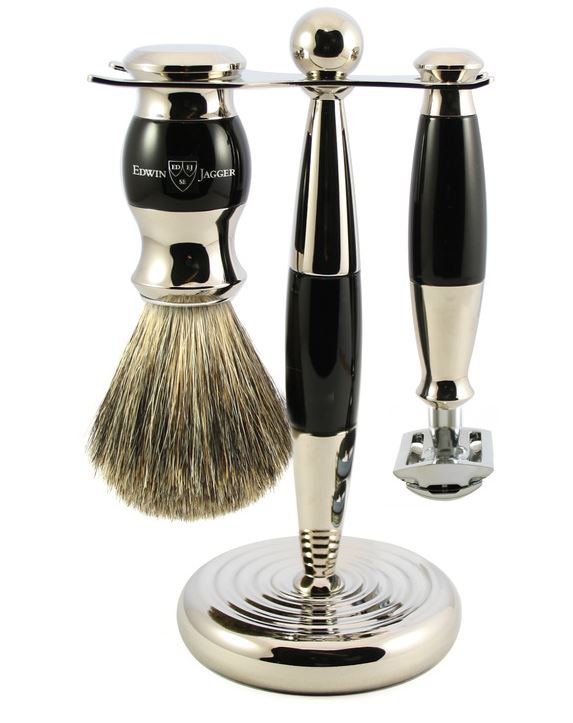 3pc set, Imitation Ebony, nickel plated, pure badger brush, DE