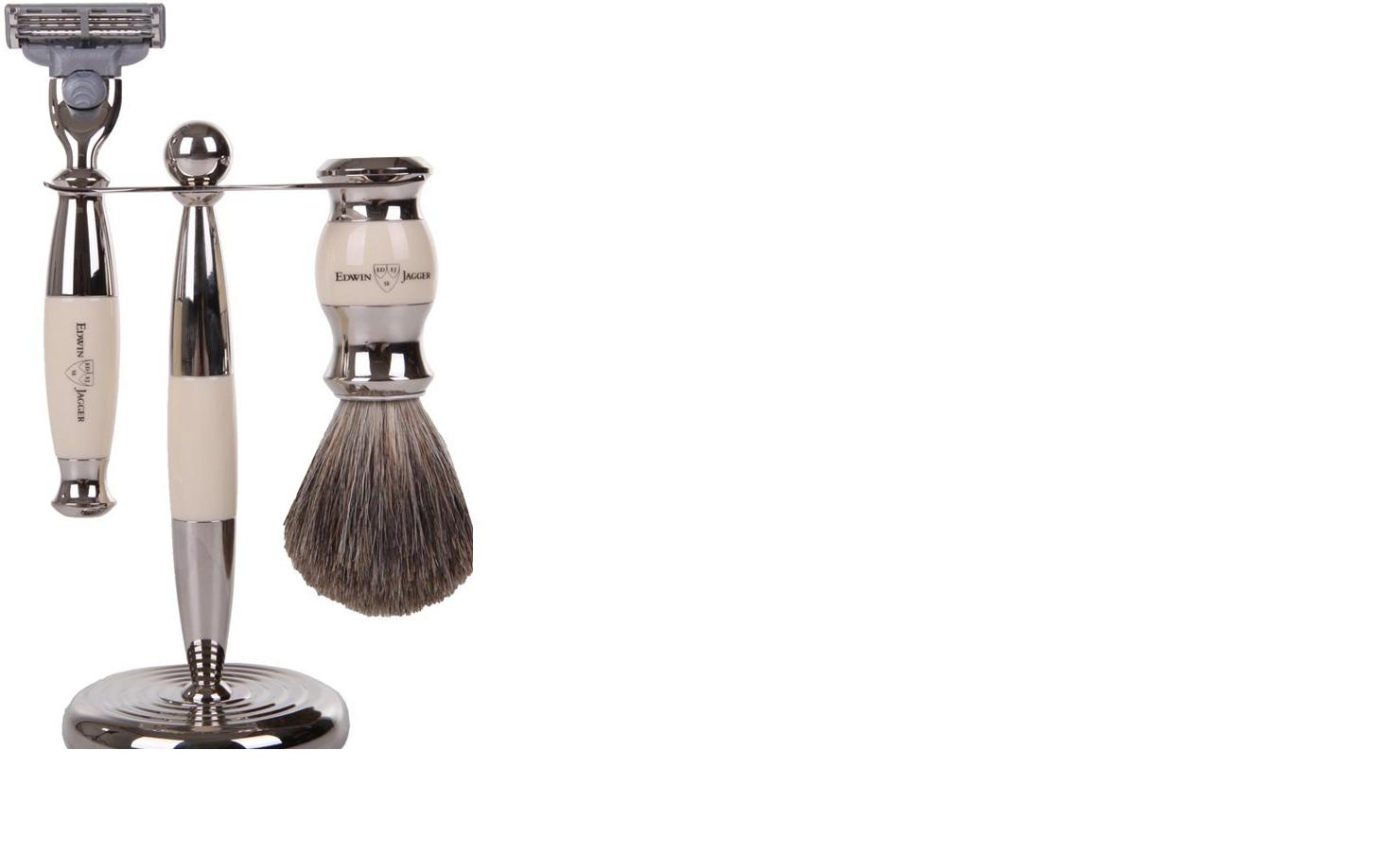 3pc set, Imitation Ivory, nickel plated, pure badger brush - A