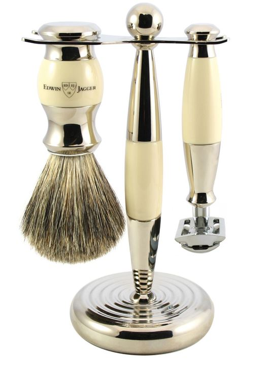 3pc set, Imitation Ivory, nickel plated, pure badger brush, DE