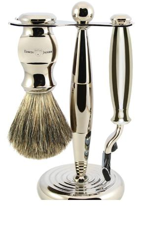 3pc set, Nickel Plated, pure badger shaving brush with stand