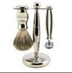 3pc set, Nickel Plated, pure badger shaving brush with stand, DE
