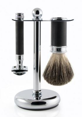 3pc set, DE razor, 3D diamond effect, black chrome plated