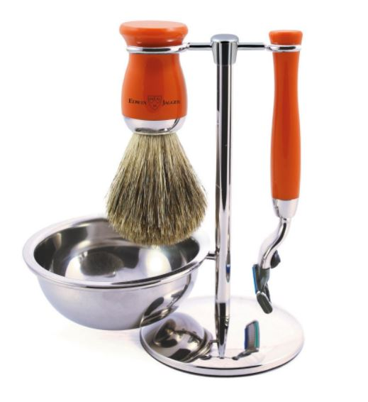 4pc set, Mach 3, pure badger brush with stand and bowl, Orange