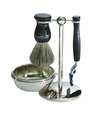 4pc set, Imitation Ebony, pure badger brush with stand and bowl