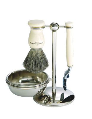 4pc set, Imitation Ivory, pure badger brush with stand and bowl