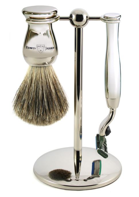 3pc set, Mach 3, nickel plated, pure badger brush