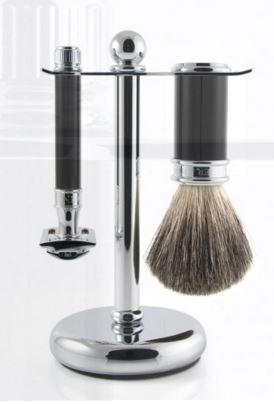3pc set, DE razor, imitation ebony, pure badger shaving brush