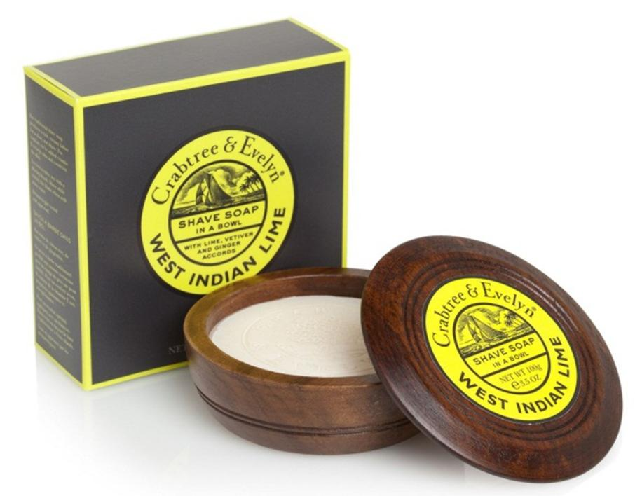 West Indian Lime Shave Soap in Wooden Bowl 100gr