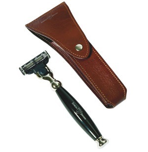 Travel Case for Razor, Genuine Leather, Brown
